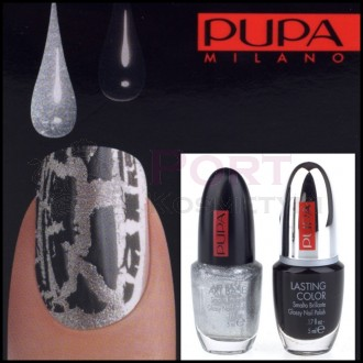 PUPA NAIL ART KIT 890 SILVER / BLACK - ZESTAW DO MANICURE