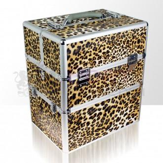 Kufer kosmetyczny dla wizażystek, kosmetyczek, fryzjerek - panterka złota