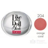 PUPA LIKE A DOLL COMPACT BLUSH 204 orange coral - PRASOWANY RÓŻ DO POLICZKÓW